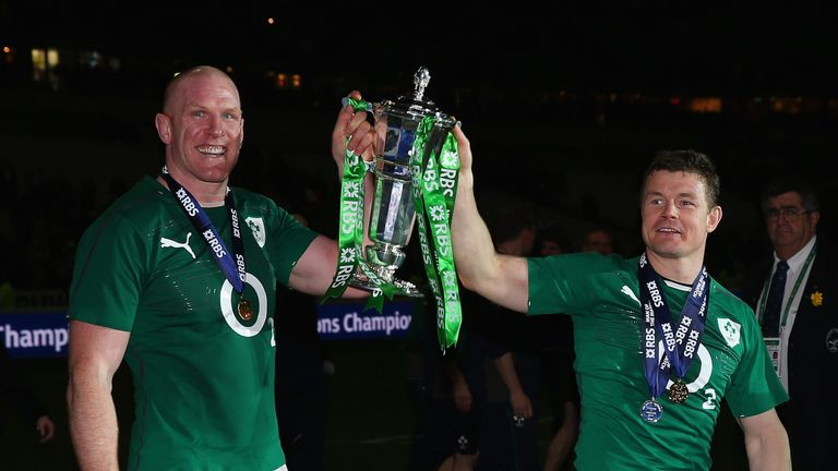 Paul O'Connell and Brian O'Driscoll celebrate Ireland's Six Nations win in 2014