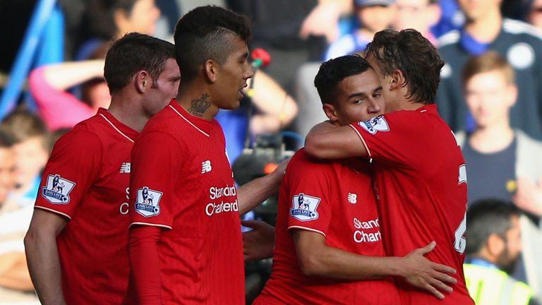 Philippe Coutinho of Liverpool celebrates