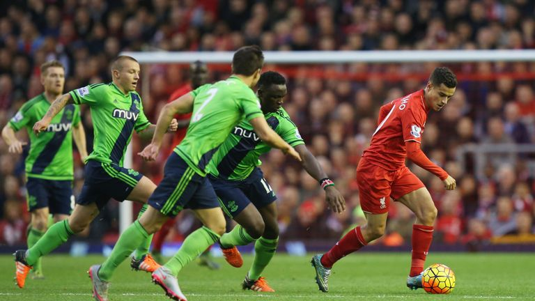 Philippe Coutinho is tracked by a number of Southampton players during their 1-1 draw earlier in the season