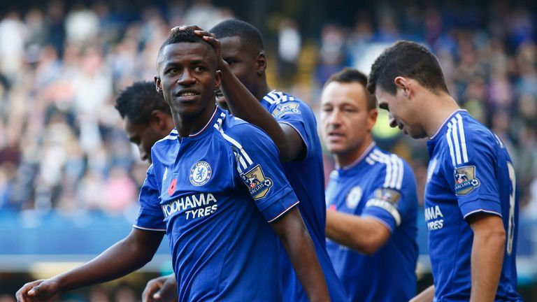 Ramires (front) of Chelsea celebrates scoring his team's first goal