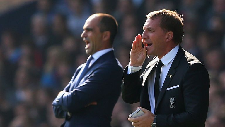 Roberto Martinez (L) and Brendan Rodgers shared the spoils at Goodison Park