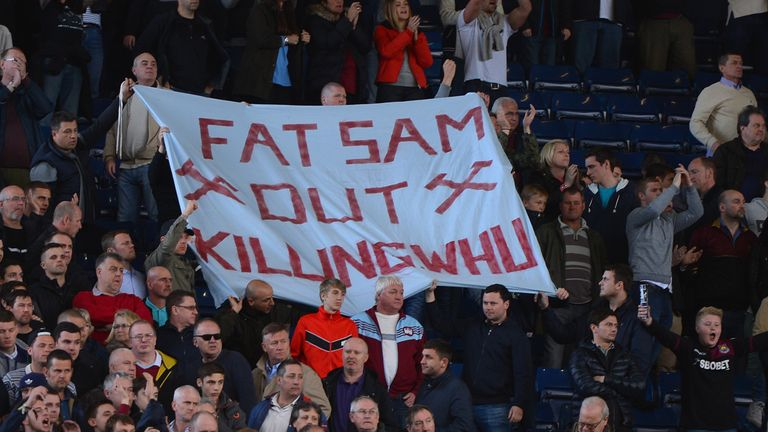 Some West Ham fans called for Allardyce's departure at a game against West Brom in April 2014
