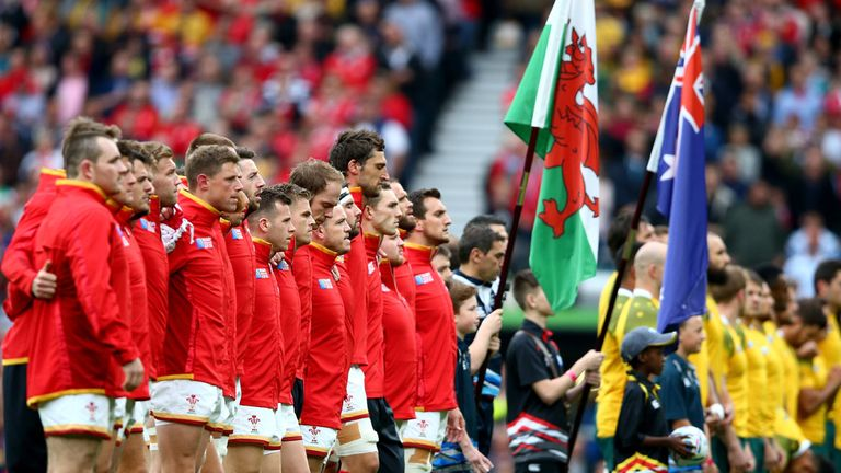 Wales line up for national anthem ahead of World Cup tie against Australia.