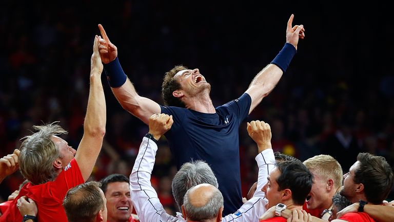 Andy Murray celebrates clinching the Davis Cup for Great Britain