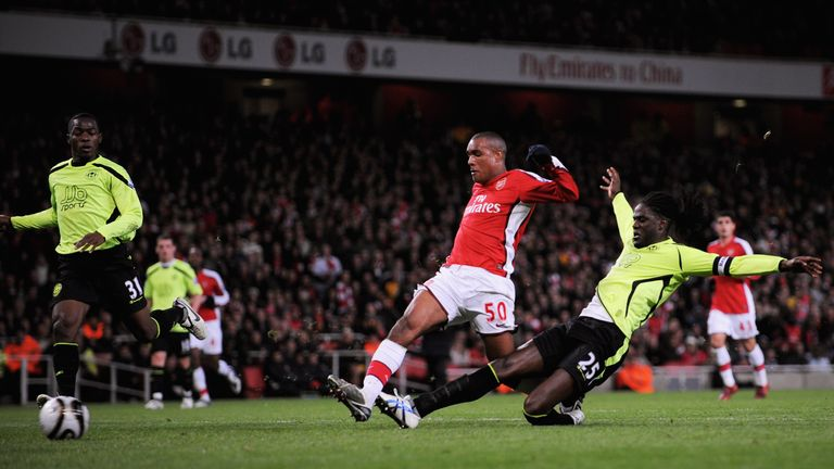 Simpson scores his first goal in Arsenal's 3-0 win against Wigan in 2008