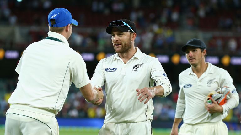 Brendon McCullum shakes hands with opposition captain Steve Smith in Adelaide