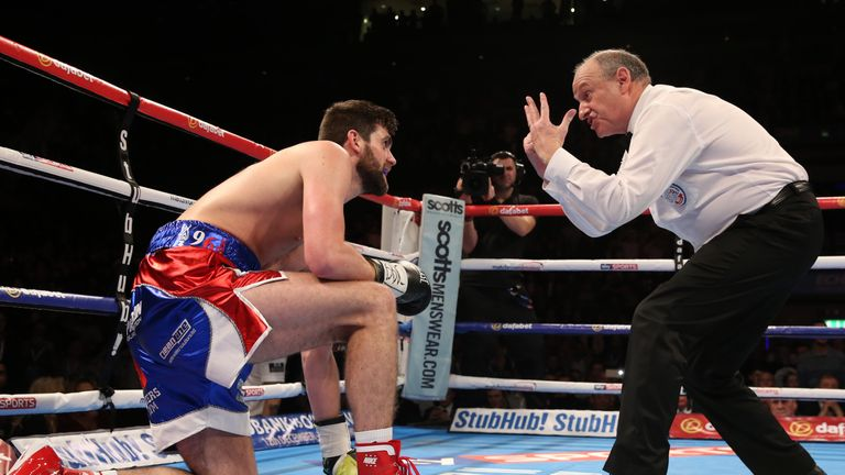 Rocky Fielding (left) made it up three times but it was too much, too soon