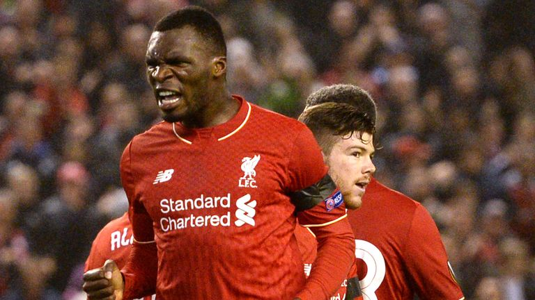 Christian Benteke celebrates his goal for Liverpool