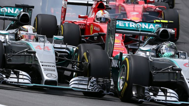 Rosberg and Hamilton came close into Turn One, but the polesitter stayed ahead