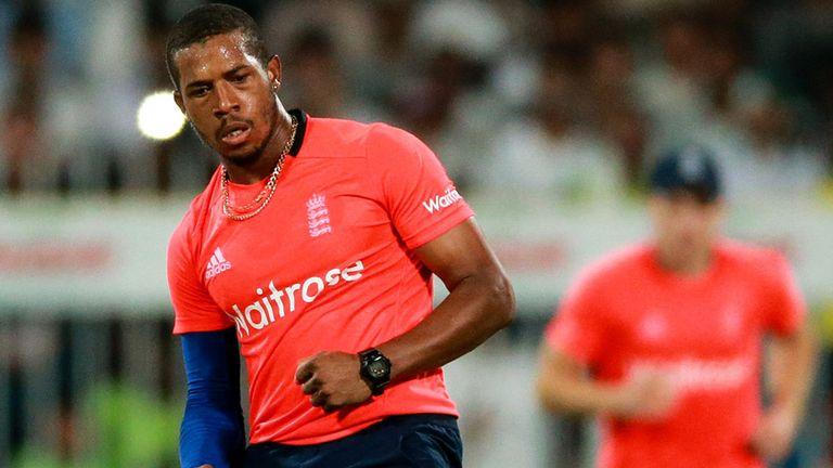 England's Chris Jordan celebrates bowling Umar Akmal of Pakistan during the 3rd International T20