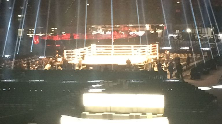 The boxing ring at the Esprit Arena ahead of Klitschko vs Fury