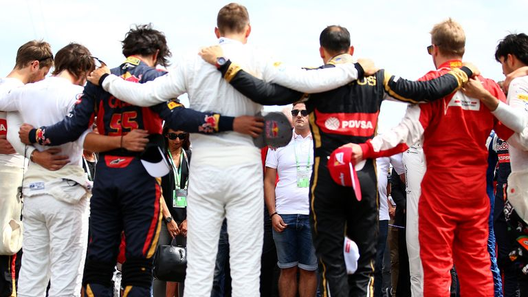 The remembrance: Ahead of the Hungarian GP, the drivers pay their respects to Jules Bianchi following his passing - Picture by Dan Istitene, Getty Images