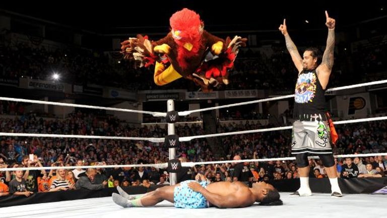 The Gobbledy Gooker - aka Jey Uso - leaps on to Xavier Woods