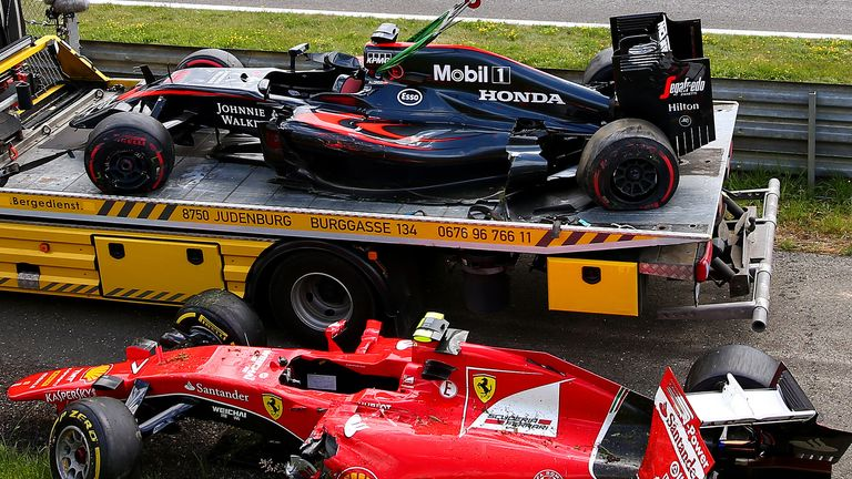 Two into one: The crashed cars of Fernando Alonso and Kimi Raikkonen at the Austrian GP - Picture by Dan Istitene, Getty Images