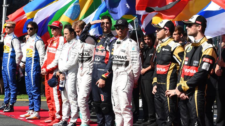 Ready to start: The drivers line up on the grid at Melbourne on March 15 for the first race of the new season - Picture by Keith Sutton, Sutton Images