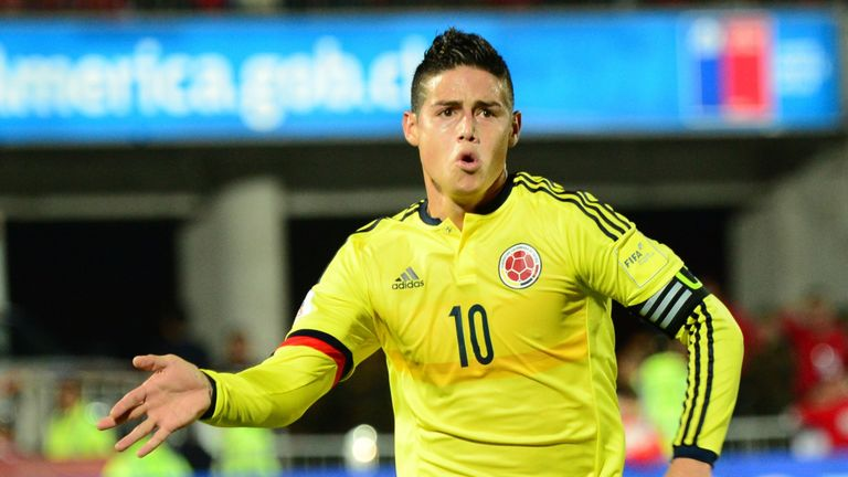 Rodriguez celebrates scoring for Colombia - but Madrid are looking to cash in