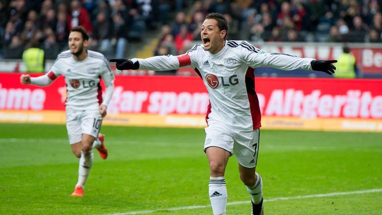Hernandez celebrates scoring one of his 19 goals for Bayer Leverkusen