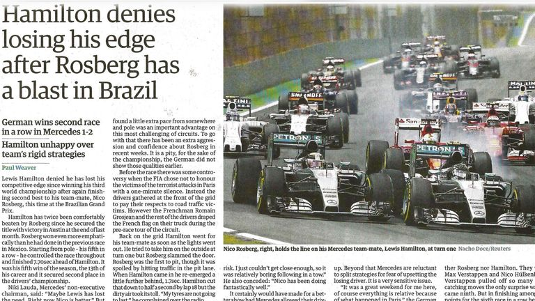 The Guardian focused on Hamilton's insistence that he hadn't eased off since clinching the world title