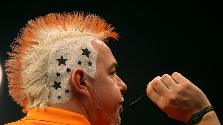 Peter Wright is hoping to play Martin Adams at the Grand Slam of Darts