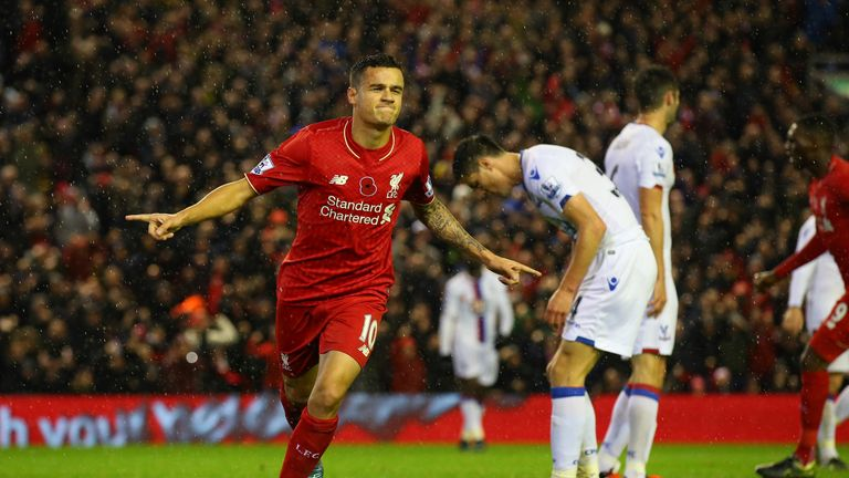 Philippe Coutinho celebrates his equaliser for Liverpool before half time