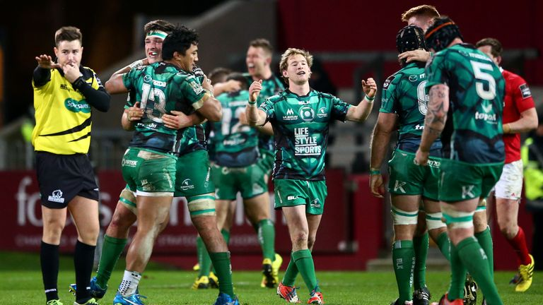 James Connolly, Bundee Aki and Kieran Marmion celebrate Connacht's win over Munster