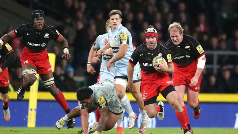 Saracens' Schalk Brits made a dazzling break against Worcester