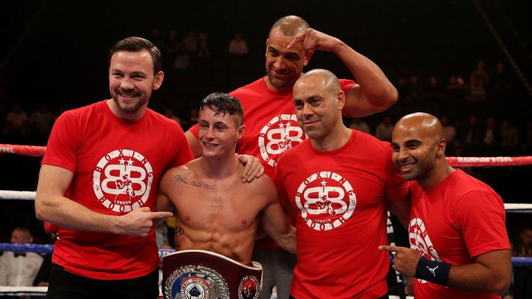 Ryan Burnett celebrates winning the WBO European bantamweight title