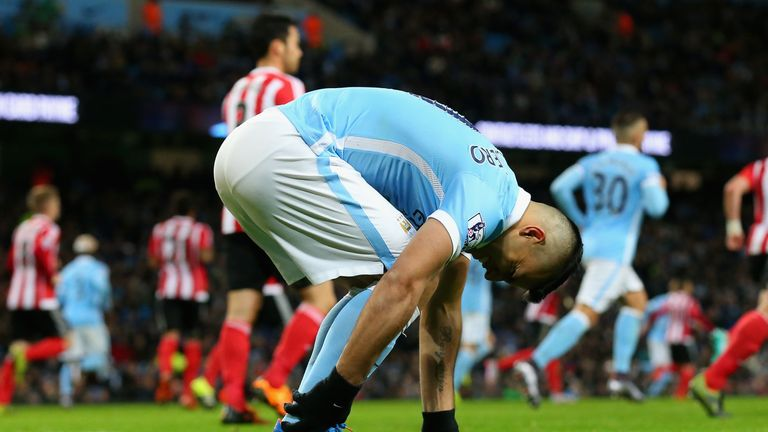 Sergio Aguero suffered a heel injury during Manchester City's win over Southampton last month