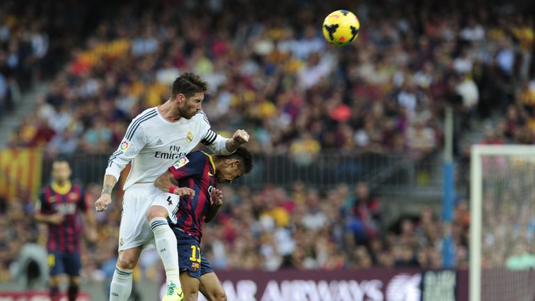 Real Madrid's Sergio Ramos clashes with Neymar in October 2013