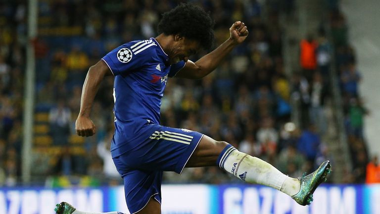 Willian celebrates after scoring yet another free-kick against Maccabi Tel Aviv