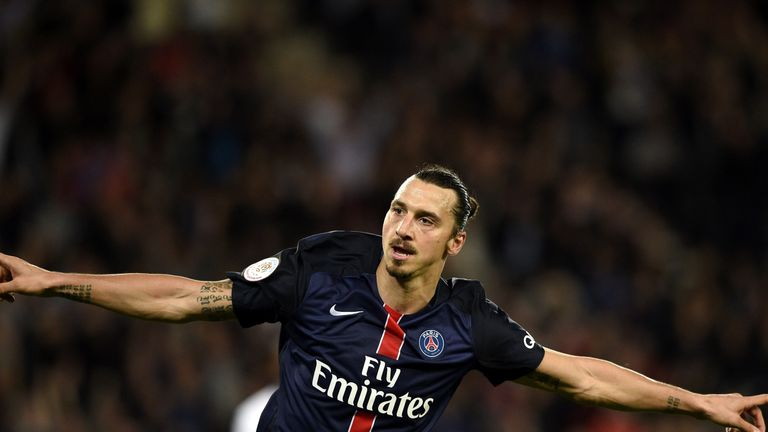 Zlatan Ibrahimovic celebrates after scoring for PSG against Toulouse in Ligue 1