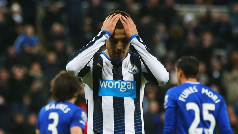 Aleksandar Mitrovic reacts after a missed chance
