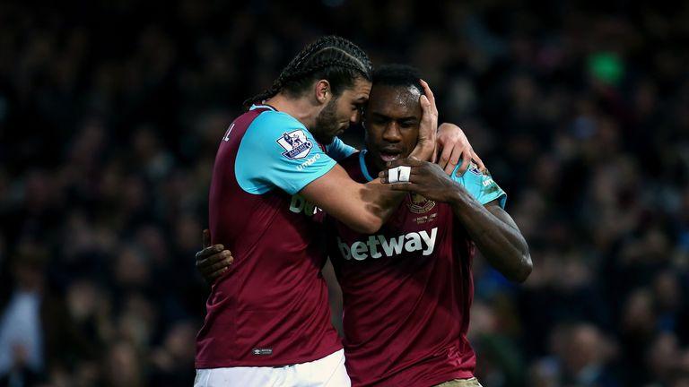 West Ham goalscorers Michail Antonio and Andy Carroll celebrate