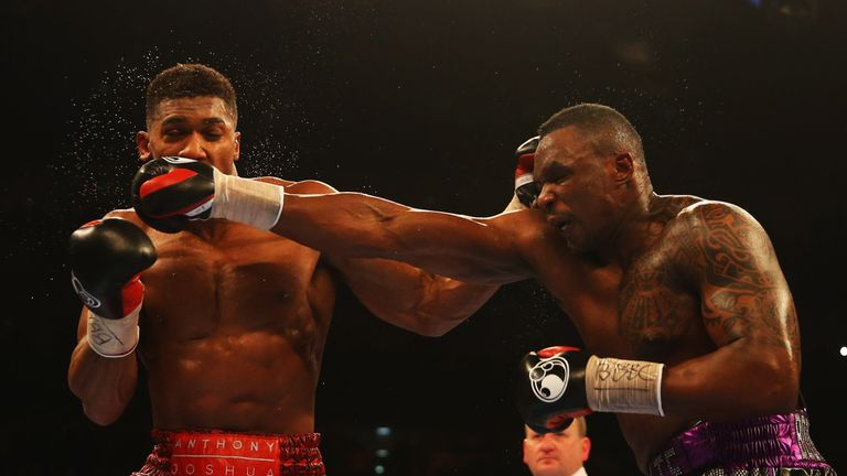 Whyte (right) tested Joshua's chin