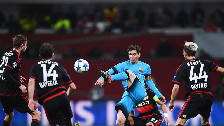 Lionel Messi in action for Barcelona at the BayArena