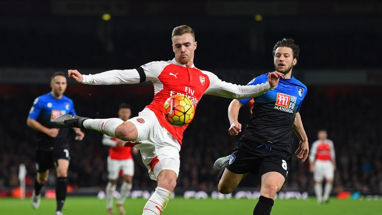 Calum Chambers and Harry Arter of Bournemouth compete for the ball