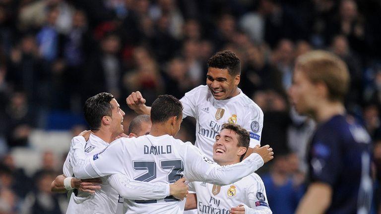 Ronaldo celebrates scoring Real's fifth goal