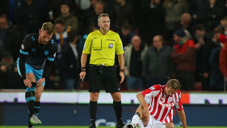 Peter Crouch went off injured after just 13 minutes of his side's 1-0 win against Sheffield Wednesday