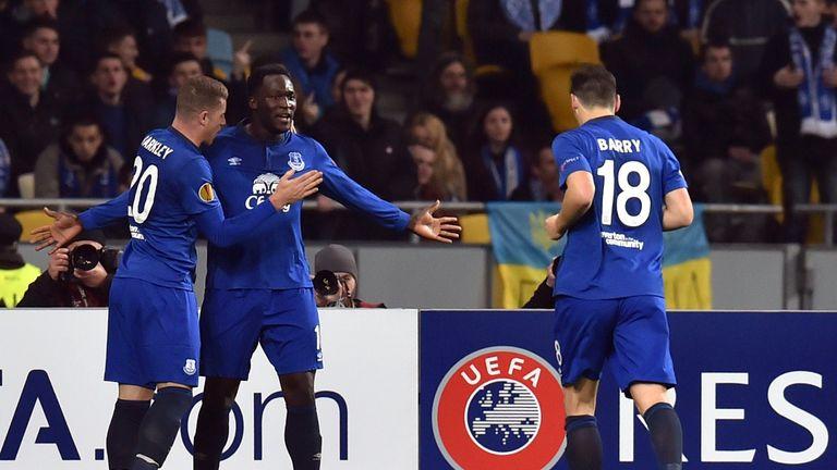 Romelu Lukaku (centre) celebrates after scoring against Dynamo Kiev in last season's Europa League
