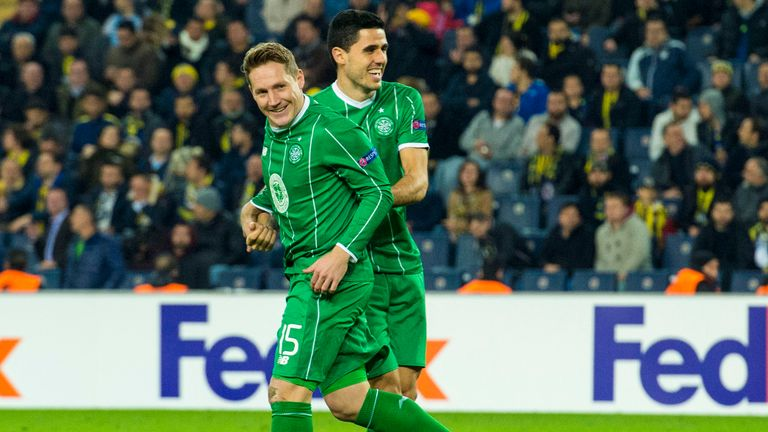 Celtic's Kris Commons celebrates with Tom Rogic