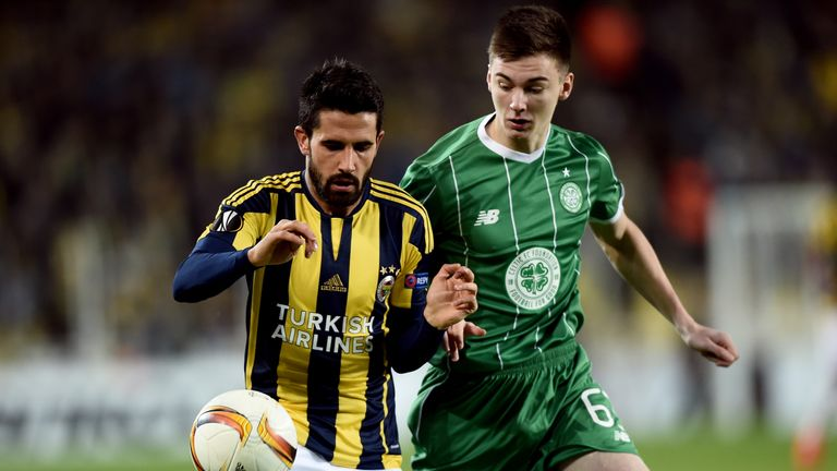 Fenerbahce's Alper Potuk (left) vies with Celtic's Kieran Tierney (right) during the UEFA Europa League