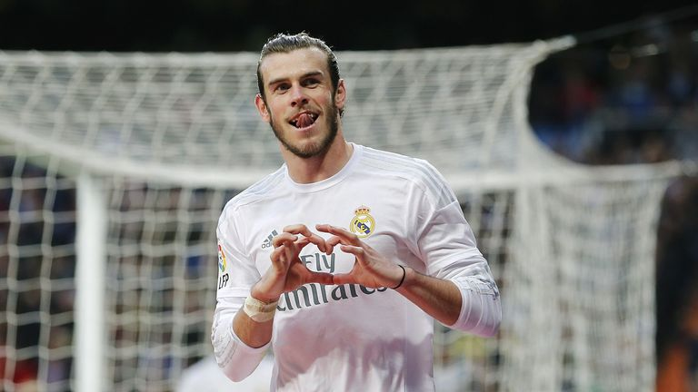 Bale celebrates after scoring his team's eighth goal