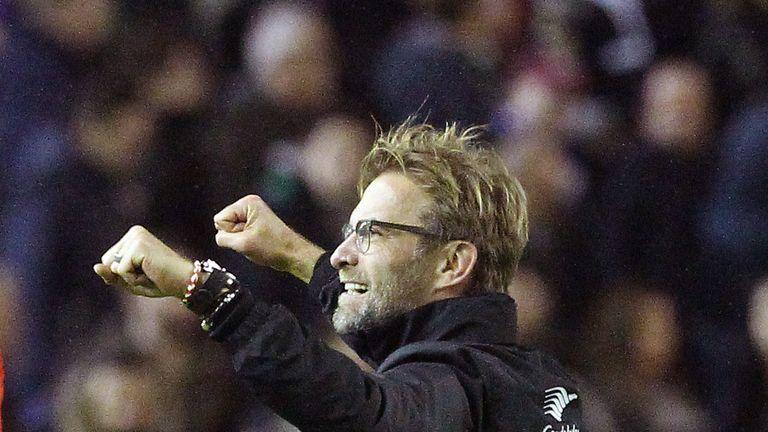 Jurgen Klopp celebrates Liverpool's victory