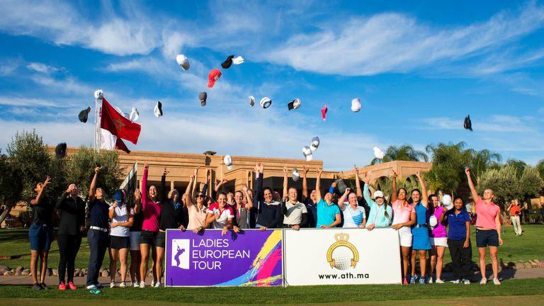 The qualifying school graduates celebrate earning their Ladies European Tour cards