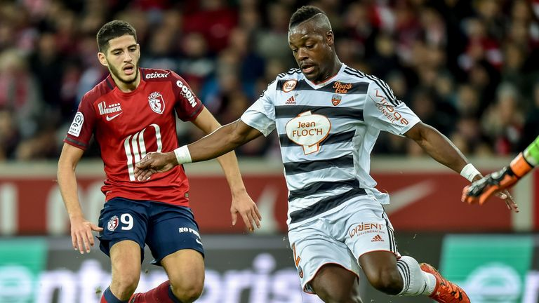 Lamine Kone (R) has impressed for Lorient this season