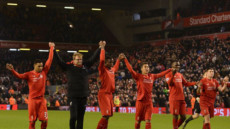 Liverpool players salute the crowd after the clash with West Brom