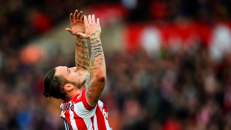 Stoke's Marko Arnautovic celebrates after scoring his team's second goal against Manchester United
