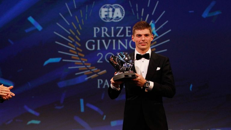Verstappen picked up three prizes at the FIA's gala - rookie, personality and 'action' of the year