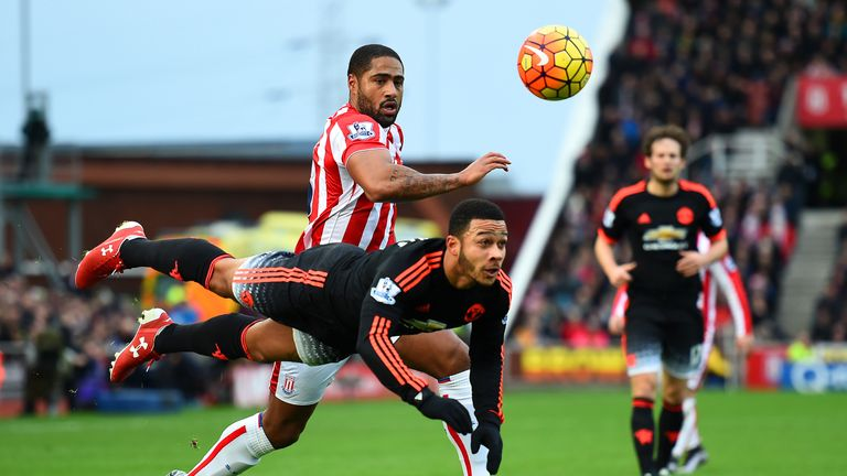 Memphis Depay was at fault for Stoke's opening goal as his header fell well short of David de Gea
