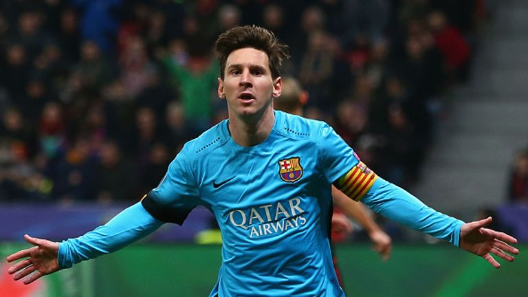 Messi celebrates his 80th Champions League goal